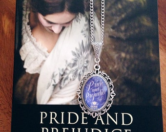 Pride & Prejudice Jane Austen Necklace 18x25mm - Pride and Prejudice Book Cover Necklace - Book Jewellery -Classic Literature Gift - Bookish