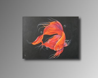Siamese Combat fish-acrylic painting, black, red