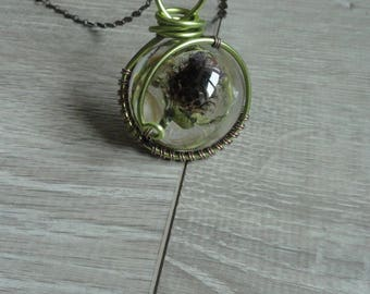 Pendant cabochon wire wrapped - Thistle - lucky - great amulet