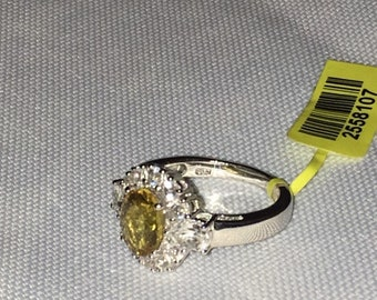 Golden Apatite, White Topaz Platinum Over Sterling Silver Ring (Size 7.0) TGW 3.50 cts.