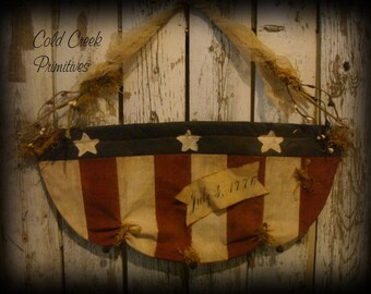Primitive Americana Quilted Flag Banner