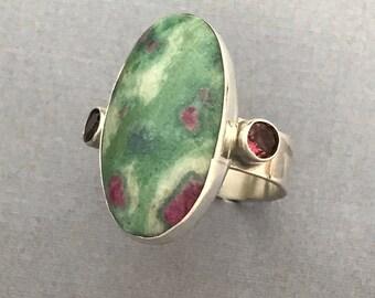 Ruby fuschite, ring, tourmaline, handmade, sterling silver