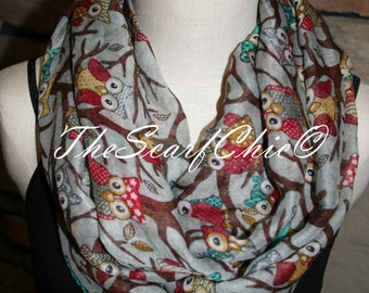 Infinity Scarf Whimsical Owl Grey Gray Circle Loop Scarf - Whimsy Owl-Summer Scarf Accessories