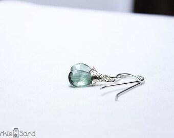 Moss Aquamarine earrings, genuine natural gemstone, March birthstone jewelry, sterling silver jewelry, dainty delicate green blue earring