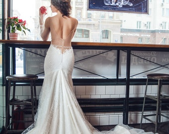 Mermaid bridal gown,silk lace bridal gown,V-neckline,crystal embroidery,thin sash,hand-embroidered sash,trained bridal gown,open back