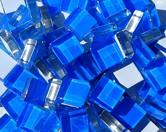 Blue Glass Tiles - 1 cm - Crystal Mosaic Tiles - Set of 100 - Use for Mosaic Jewelry - Medium Blue Mosaic Tiles