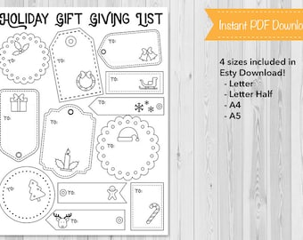 Holiday Gift List, Bullet Journal, Planner Insert, Christmas, Gift Giving, Holiday, BuJo, Printable, Instant Download
