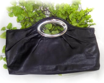 black Clutch ,Envelope Clutch Purse, fold over Clutch - clutch bag ,  Vegan Clutch ,  # 152