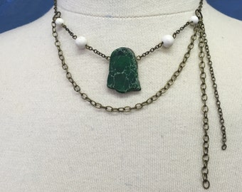 CA Green/White Statement Necklace