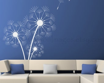 Triple dandelion wall decal, flower wall decal, blowing dandelion, tree wall decal, dandelion art, bedroom wall decal, dandelion nursery