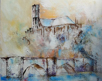 Cathedral of Limoges, acrylic on cardboard