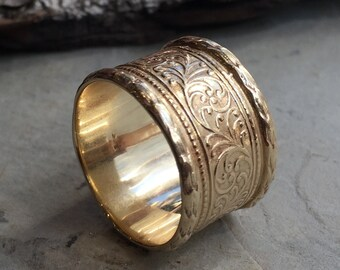 Solid gold wedding band, Unisex ring, unique wedding band, mens womens ring, vine band, 14k gold ring, wide band, boho ring - Believe RG1741