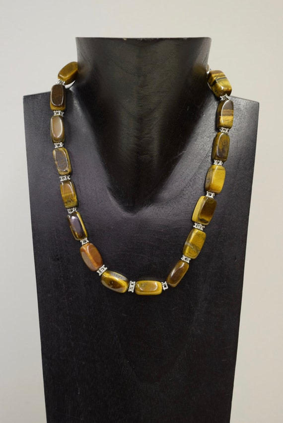 Necklace Vintage Tiger Eye Rectangular Stone Handmade Jewelry Brown Tiger Eye Stones Silver Necklace Unique E