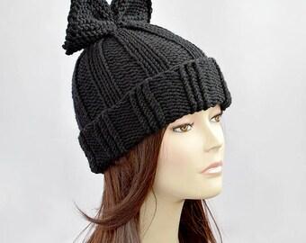 Bow Hat Knitting Pattern // Hat Pattern, Woman Hat with Bow Pattern, Knit Hat, Beanie Pattern, Knit Beanie, Bonnet Femme, Winter Hat Pattern