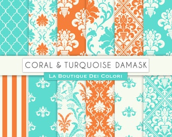 Cute Coral and Turquoise damask digital paper. Orange and Aqua digital paper pack of damask backgrounds patterns for commercial use clipart