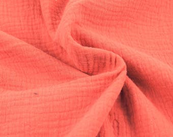 Double cotton gauze / coral / cut 25cm