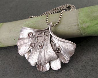 Large double gingko leaf pendant, handmade eco friendly fine silver necklace, One of a kind