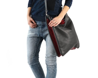 Large Leather Bag, Everyday Bag, Grey Tote Bag, Grey Tote, Grey Shoulder Bag, Gray Leather Tote, Extra Large Tote Bag, Extra Large Tote