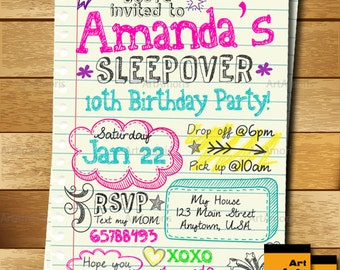 Sleepover Invitation, Doodle Teen Notebook Sleepover Invitation, Slumber Party Invitation, Pajama Party Invitation R-144