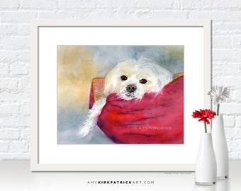 White MALTESE Watercolor Art, White Dog Print, Dog Greeting Cards, Dog Original Painting, Dog Wall Decor, Dog Wall Art, It's a Ruff Life