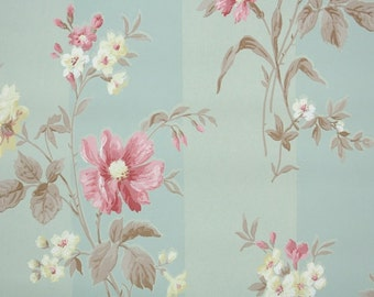 1940s Vintage Wallpaper by the Yard - Floral Wallpaper with Pink and Yellow Flowers and Brown Leaves on Green Stripe