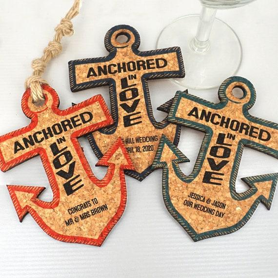 Wedding Cork Coaster: Wedding Favors Coasters Personalized Anchor Cork Coaster