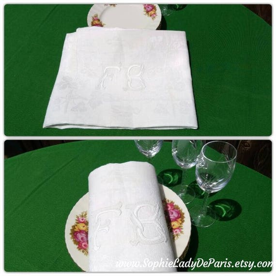 Antique White Fine Damask Linen Towel Double Monogram Hand Embroidered French High Quality Linen #sophieladydeparis