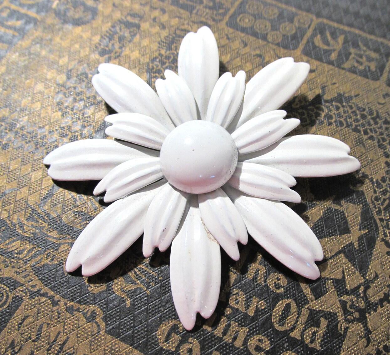 Enamel Flower Pin Vintage Large White Enamel Pin Brooch Flower