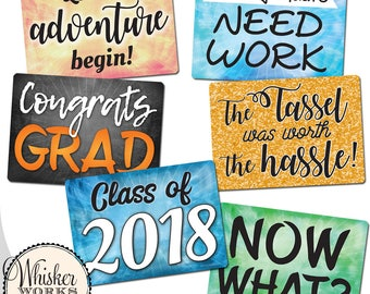 Plastic Photo Booth Phrases - GRADUATION MIX - Set of 3 colorful signs including Class of 2018