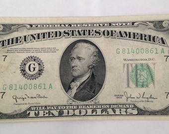 U.S. Federal Reserve Currency Ten Dollar Note Bill 1980 Chicago, Illinois
