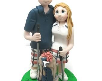 Custom cake topper, Golfer's wedding cake topper, Bride and Groom cake topper, Mr and Mrs cake topper, personalized cake topper