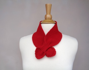 Bright Red Ascot Scarf, Merino Wool, Pull Through Keyhole, Small Neck Scarf, Hand Knit Neck Warmer