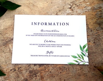 Wedding Information Card, Wedding Details Card, Accommodation Card, Wishing Well Card, Printable Enclosure Card, Enclosure Card Template