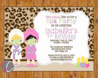 Spa Party Birthday Invite Girls Leopard Print Manicure Pedicure Facial Pink Purple 7th 8th 9th Birthday Invitation 5x7 Digital JPG (293)