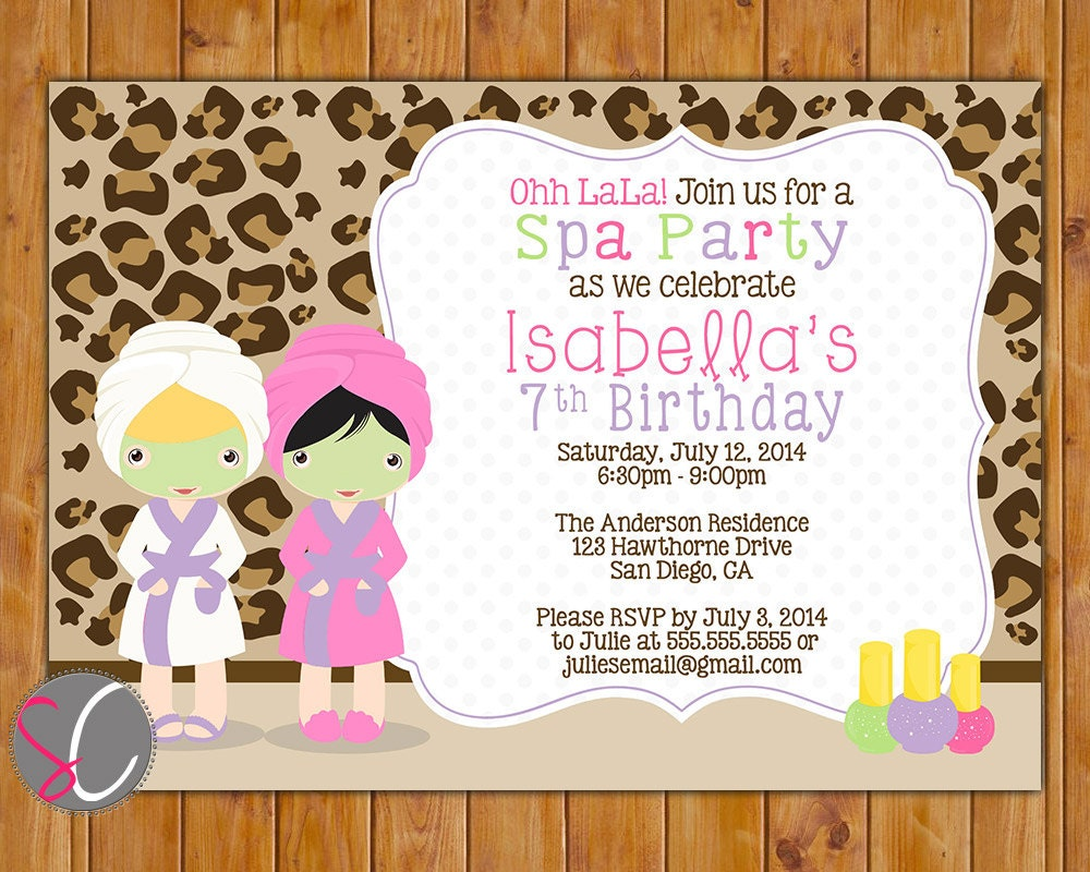 Spa Party Birthday Invite Girls Leopard Print Manicure