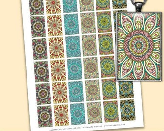 1 Inch RECTANGLES Mandala Collage Sheet - Arabesque Mandala Designs - For Pendants, Magnets & Wine Charms - Inchies Rectangle PDF 1 Inch