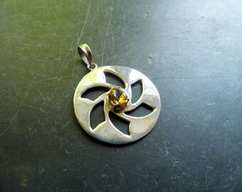 Pendant, sterling silver, citrine, crop, yellow, amulet, symbol
