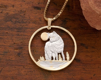 "Timber Wolf Pendant and Necklace, Canadian Five Dollar Wolf Coin Hand Cut, 14 Karat Gold and Rhodium Plated, 1 1/8"" in Diameter, ( # 925 )"