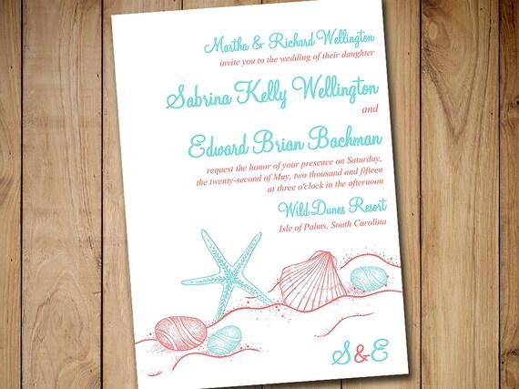 Beach Wedding Invitation Template Destination Wedding