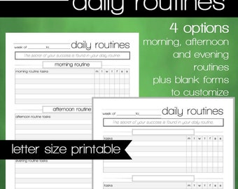 Daily Routines Planner Printables - Morning Routine - Evening Routine - Blanks to Customize - 8.5x11 Letter Size PDF - INSTANT DOWNLOAD
