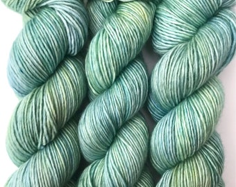 "Hand Dyed Yarn ""Verre de Mer"" Green Yellow Blue Turquoise Aqua Merino Silk DK Singles Superwash 230 yds"
