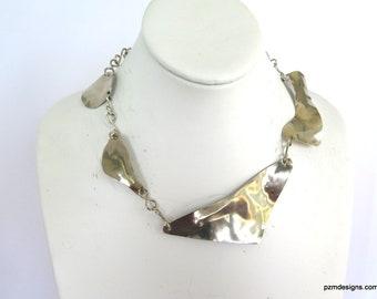 Asymmetrical Silver Bib Neck Piece, Silver Tone Hammered Necklace