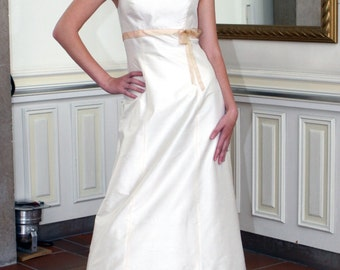 silk wedding dress with colored ribbon