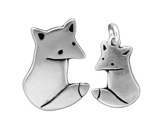 Little Wild Fox Necklaces - Set of Two Sterling Silver Pendants for Mother-Daughter Gifts