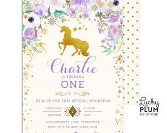 Unicorn Birthday Invitation / Winter Wonderland Birthday / Winter OneDerland Birthday Invitation / First Birthday Invitation / Digital