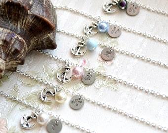Weddingsjewelry Bridesmaid bracelets set of 7 seven Bridesmaid jewelry set of 7 Bridesmaid gift set of 7 Personalized anchor bracelet set