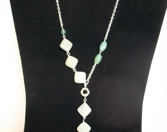 Light Green Jade Asymmetrical Necklace on Chain & Earrings