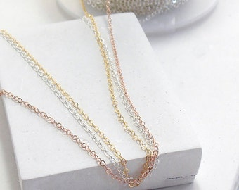 Necklace Chain | Delicate Cable Chain Necklace pick your length | Choker Necklace | Extra Long Necklace | Sterling Silver, Gold or Rose Gold