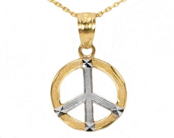 10k Two Tone White and Yellow Gold Peace Necklace with Diamond Cut Finish, Solid Gold Peace Pendant with Option to Add Yellow Gold Chain