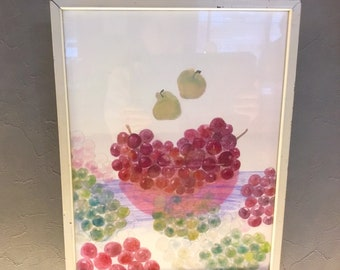 Grapes on the water and a pear watercolor This is an inkjet print size about b4 hand painted amount